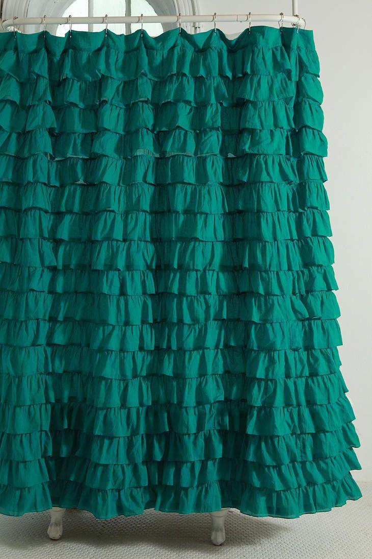 Dark green shower curtains - Solid Green Shower Curtains Waterfall Ruffle Shower Curtain