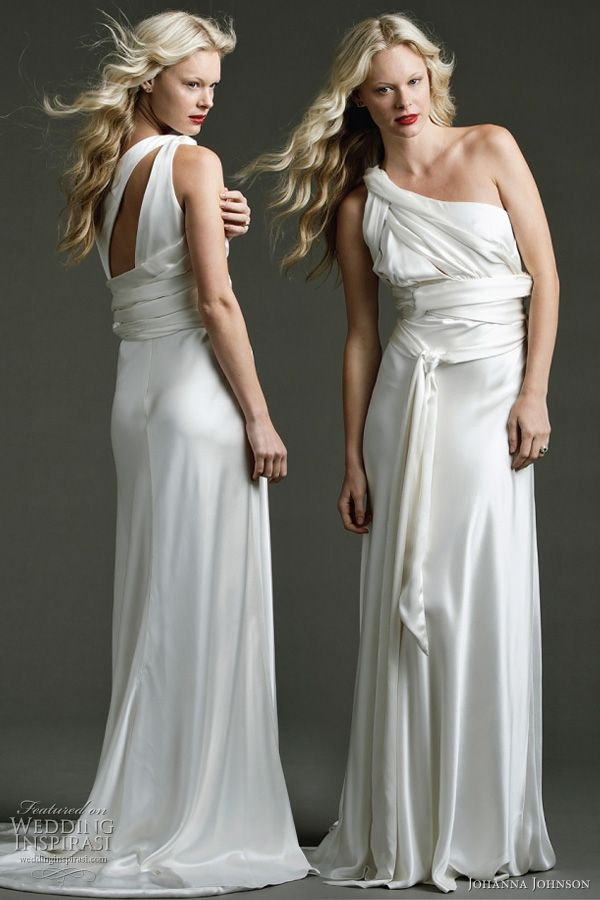 Johanna Johnson 2011 draped wedding dress - Hudson - twisted ties of ivory heavy silk with structured silk panels, flowing skirt and full train