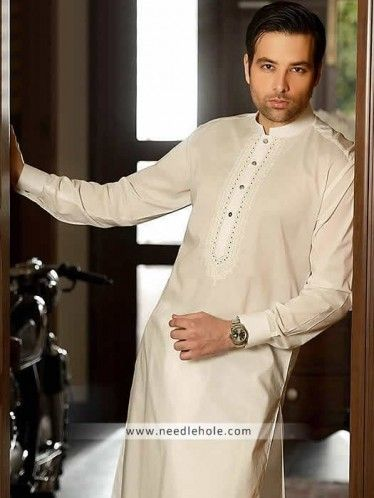 #Pakistani #kurta shalwar suit for men in #cotton silk fabric. Off-white buttoned cuffs embroidered front kurta with matching shalwar http://www.needlehole.com/pakistani-kurta-shalwar-suit-for-men-in-cotton-silk-fabric.html Pakistani kurta shalwar suits and #shalwar kameez by hsy. Latest pakistani shalwar kameez designs and indian kurta shalwar for men by hsy men's stores in usa, uk and uae