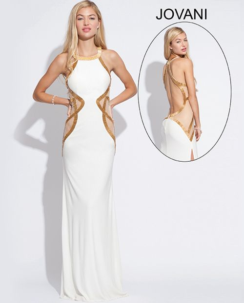 Sexy long halter white dress for prom 2014 by Jovani, features sheer panels with gold trim along the bodice, a sexy slit and a open back