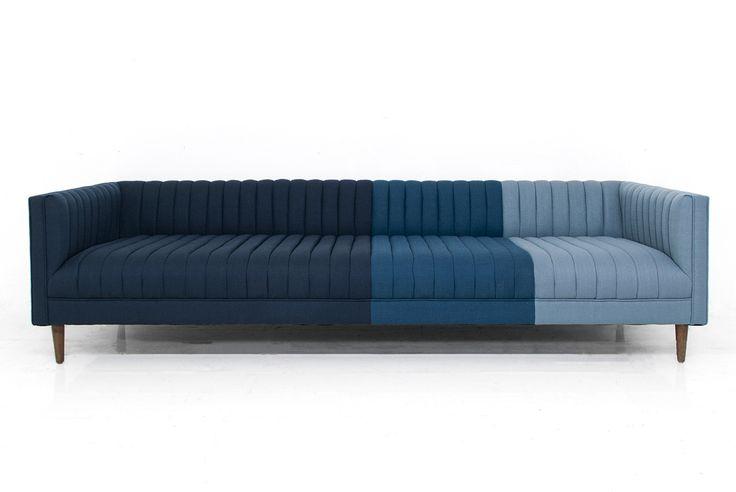 Manhattan Sofa in Ombre Blue Linen