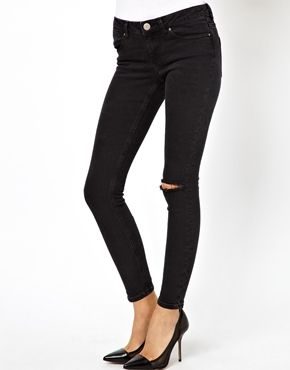 Cheap & cute. Yes please. ASOS Low Rise Ultra Skinny Ankle Grazer Jeans in Washed Black with Rip Knee