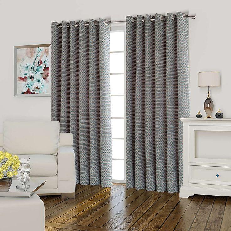 Athena Teal Lined Eyelet Curtains | Dunelm