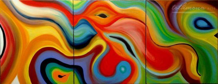 Neverending story | finger painting, oil on canvas, 3*60x70cm
