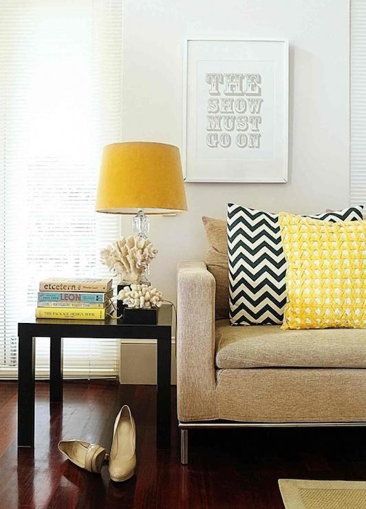 Chevron Pillow, retro living room, dark wooden floor combined with yellow interior