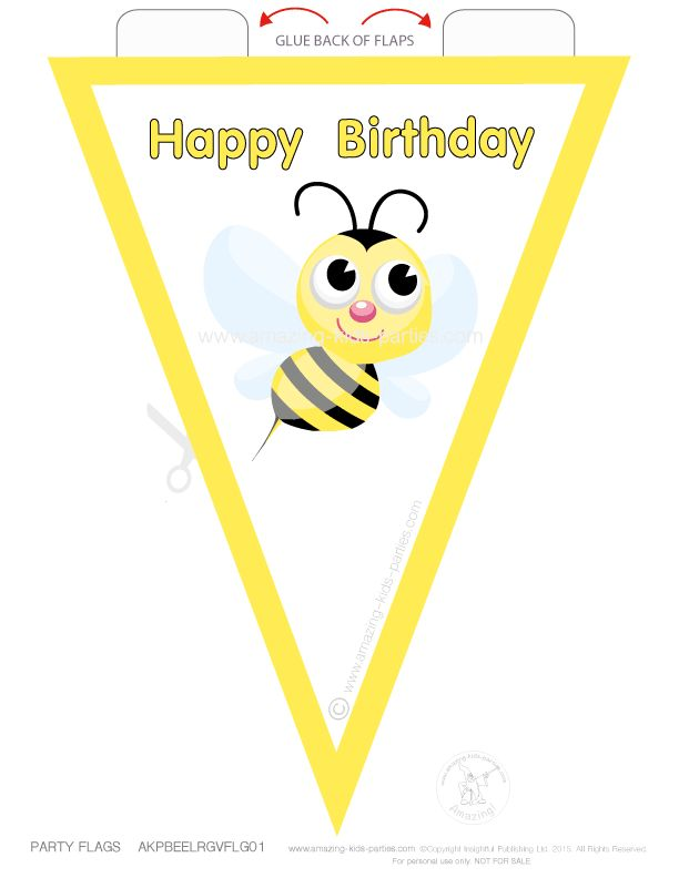 FREE Printable Bee Party Flags from amazing-kids-parties.com