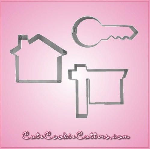Our Real Estate Cookie Cutter Sets include 3 themed cookie cutters: Cool House, Modern Key, and Realty Sign.  Each are made of sturdy aluminum. Cleaning instrucKrishelle Pohl Anthony