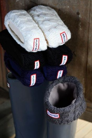 Cable Cuff Welly Sock Hunter - 9