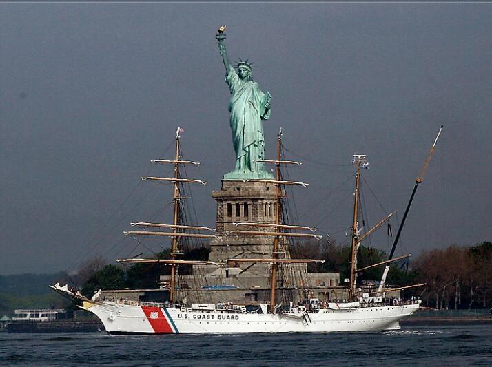 "The U.S. Coast Guard Barque ""Eagle"", 'America's Tall Ship,' sails by the Statue Of Liberty"