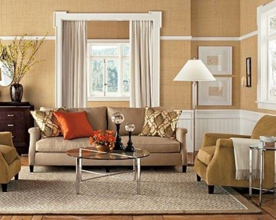 Amazing 15 Inspiring Beige Living Room Designs : Modern Brown And White Beige  Living Room With Brown Sofa Orange Pillow Table Carpet Gordyn Big Window  And ... - 72 Best Images About COLOR: Beige Home Decor On Pinterest Beige