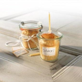 #design3000 #valentine Gebäck im Weck-Glas – Backmischung im Glas mit Kerze und Geschenkaufkleber