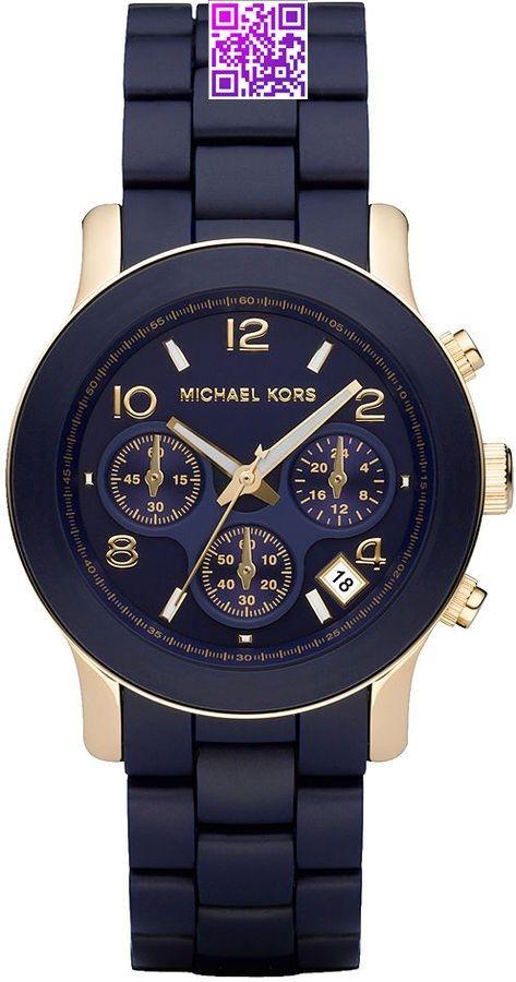Michael Kors Watch , Michael Kors Women's #MK5316 Navy Silicone Wrapped Runway Watch