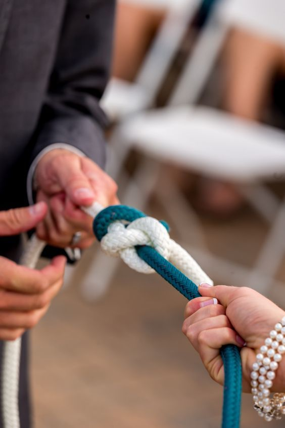 Literally, Tying the knot! This is a great and unique wedding idea for a nautical couple!                                                                                                                                                                                 More