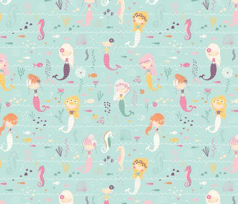 Final_Mermaid_Pattern_larger fabric by nikki_upsher on Spoonflower - custom fabric