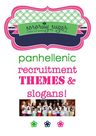 GO GREEK panhellenic council recruitment THEMES can generate extra excitement during rush week! Pick a fun theme and catchy slogan for your next NPC recruitment. <3 BLOG LINK: http://sororitysugar.tumblr.com/post/103066143544/panhellenic-council-recruitment-theme-ideas