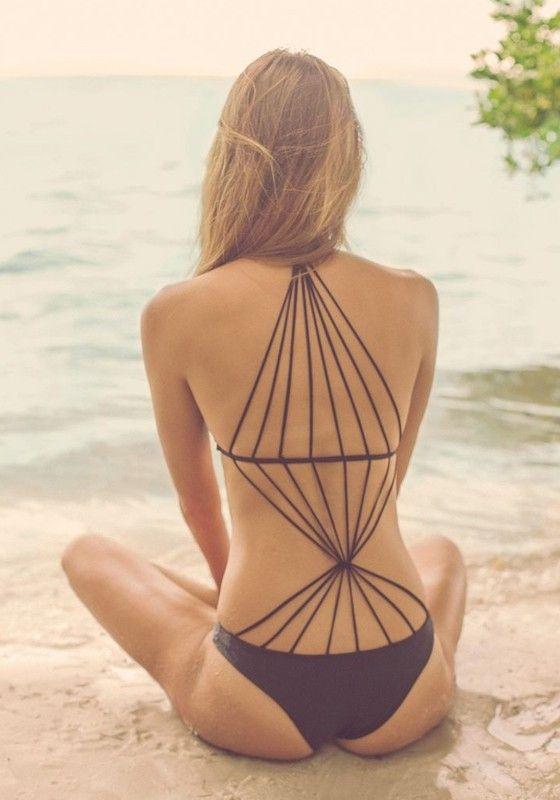 Black Plain Cross Back Stretch Straps Design One Piece Push Up Sexy Swimwear