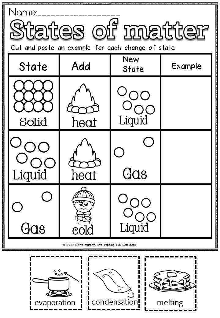 States Of Matter Worksheets States Of Matter States Of Matter Worksheet Matter Science Changing states of matter worksheets