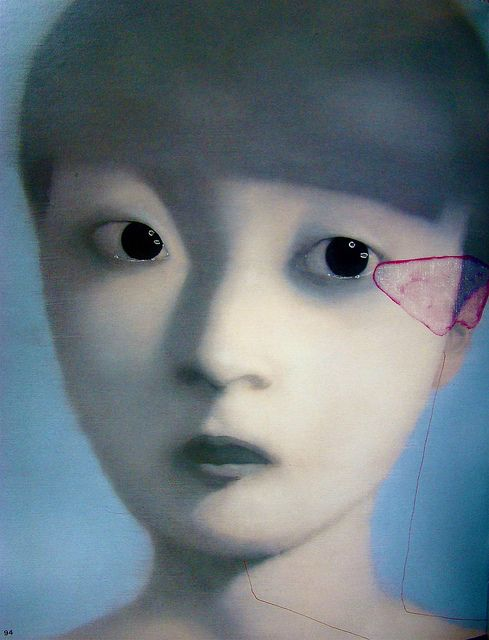Oil on canvas by Zhang Xiaogang, 2002.
