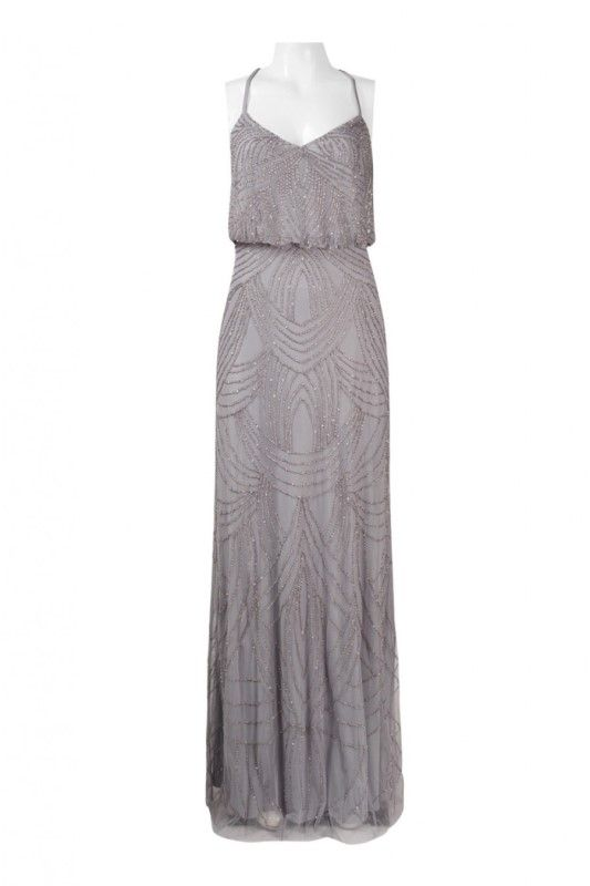 Adrianna+Papell+Beaded+Chiffon+Blouson+Silver+Grey+Dress