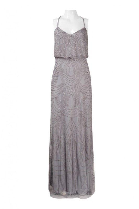 Adrianna+Papell+Beaded+Chiffon+Blouson+Silver+Grey+Dress