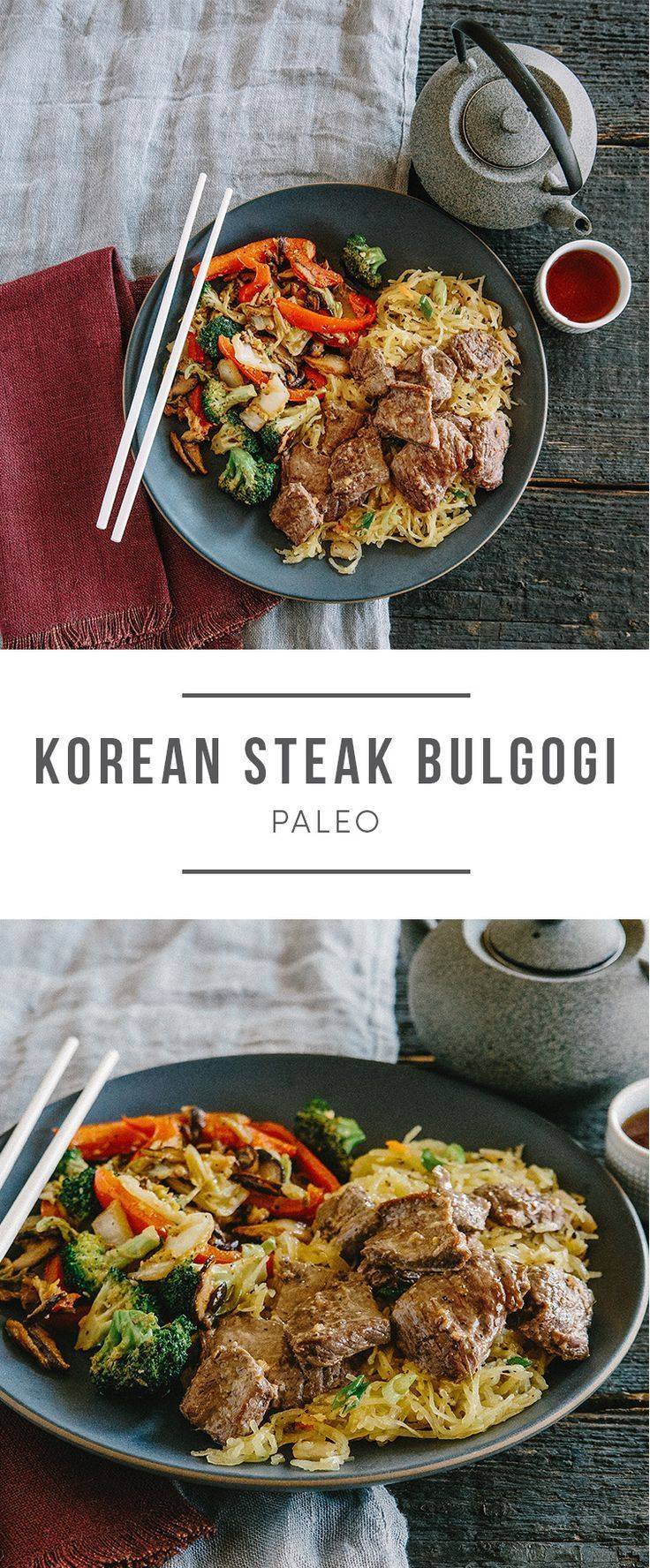 Paleo Koren Steak Bulgogi for asian food lovers. Recipe here: https://greenchef.com/recipes/paleo-korean-bulgogi-steak-with-spaghetti-squash-kimchi-noodles-stir?utm_source=pinterest&utm_medium=link&utm_campaign=social&utm_content=paleo-korean-bulogi