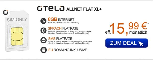 Schnäppchen Tarif Otelo Allnet Flat XL Plus 8 GB Aktion Sim Only nur 15,99 Euro inkl. Telefon Allnet-Flat ,  8 GB LTE Internet-Flatrate mit bis zu 42 MBit/s und er obligatorischen SMS-Flat inkl EU Roaming mit 336,00 Euro Rabatt während der Mindestvertragslaufzeit von 24 Monaten der Vertrag wird im Vodafone-Netz bereitgestellt.