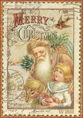 Digital Vintage Merry Christmas Image
