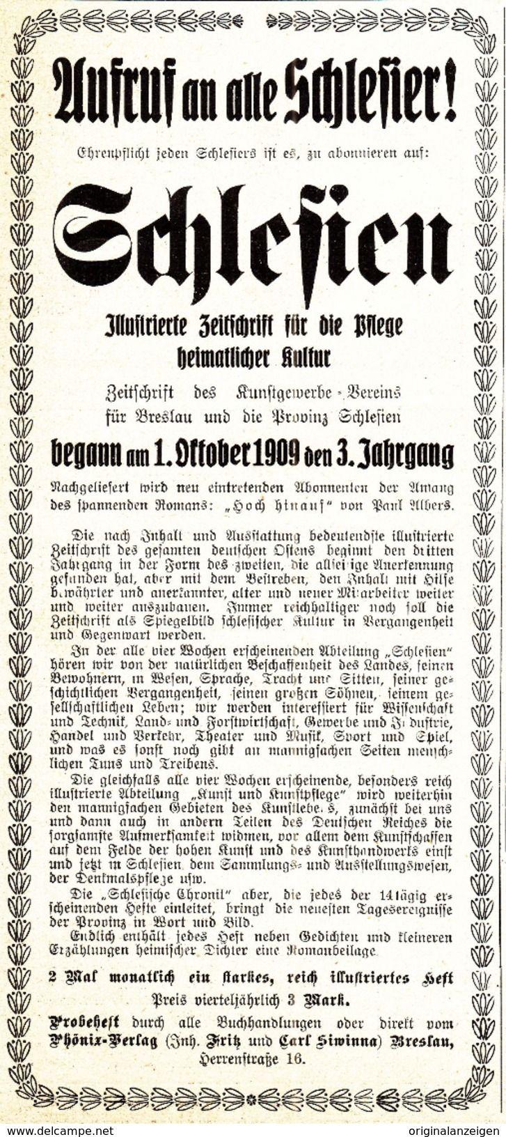 Werbung - Original-Werbung/ Anzeige 1909 - SCHLESIEN /ILLUSTRIERTE ZEITSCHRIFT FÜR DIE PFLEGE HEIMATLICHER KULTUR -ca. 90 X 200 mm