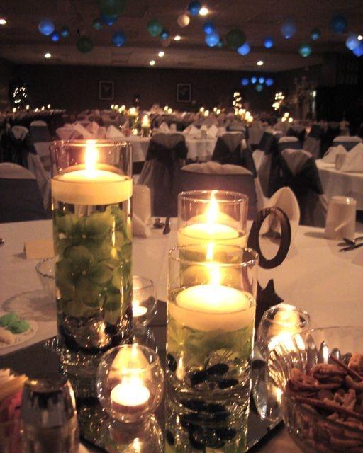 Green Hydrangea And Blue Cylinder Trio Centerpiece Ideas
