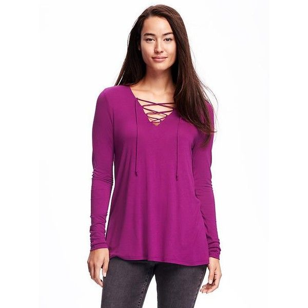 Old Navy Womens Lace Up Swing Tee ($24) ❤ liked on Polyvore featuring tops, t-shirts, pink, long sleeve t shirts, purple long sleeve t shirt, jersey tee, pink v neck t shirt and old navy t shirts