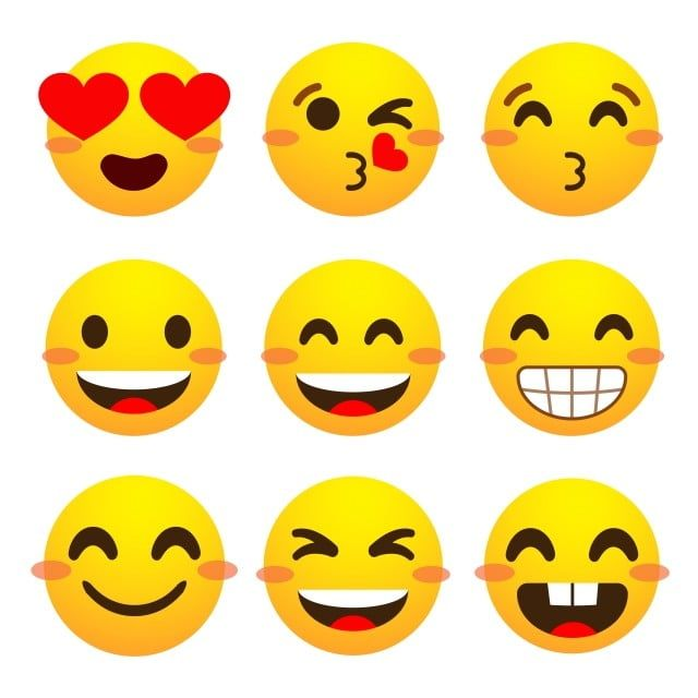 Emotional Face Emoji Facebook Set With Different Reactions For Separate Social Networks On A White Background Vector Happy Face Facebook Icons Social Icons P Emoji Social Icons Happy Face Icon