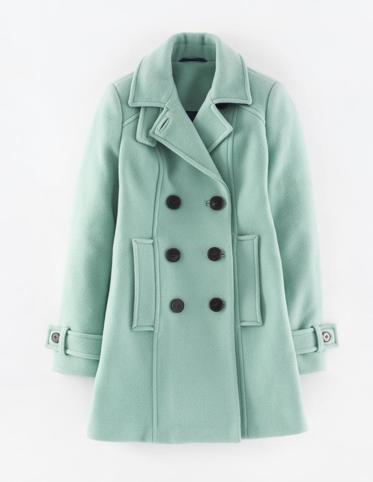 Boden Ledbury Pea Coat. The classic pea coat gets the Boden treatment, with a chic silhouette and some unexpected additions. We love the new Pastel Green and Charcoal Melange colour options. #NewBritish