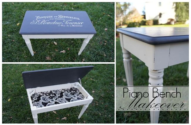 Wow! A thrifted piano bench is beautifully transformed outside & in.