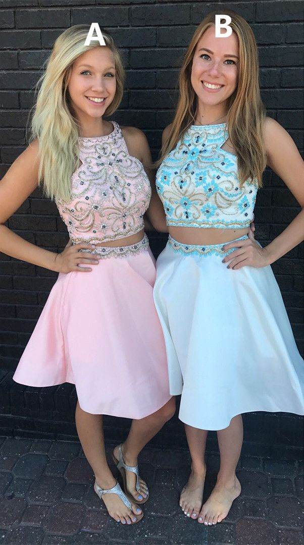 homecoming dress, short homecoming dress, two piece homecoming dress, 2017 homecoming dress, pink homecoming dress, sky blue homecoming dress