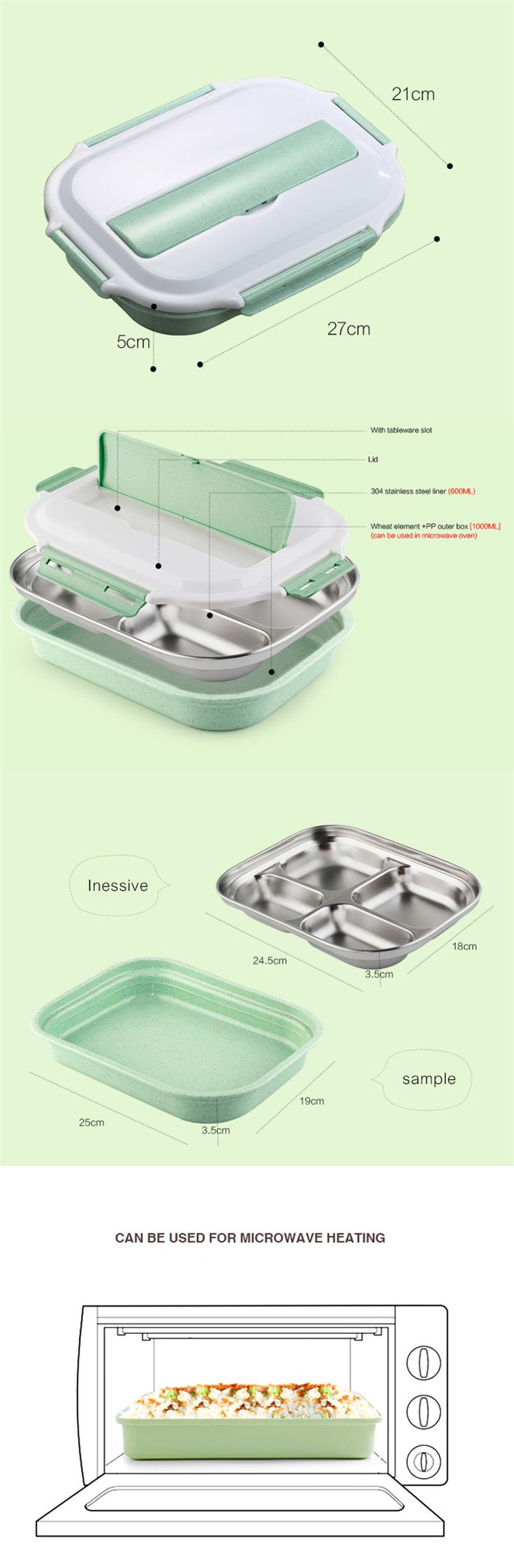 Microwavable Lunch Box Stainless Steel Bento Box Wheat Straw Food Container Picnic Camping Cheap - NewChic Mobile.