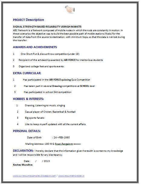 attractive resume format for freshers best fresher computer science student resume sample - Resume Of A Science Student