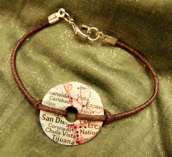 washer bracelet with map from mission area