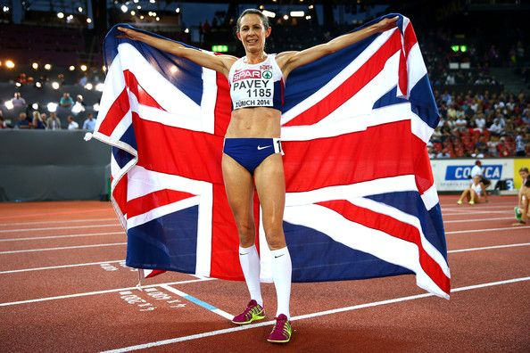 Jo Pavey of Exeter and Great Britain poses with a Union Jack after winning gold in the Women's 10,000 metres final during day one of the 22nd European Athletics Championships at Stadium Letzigrund on August 12, 2014 in Zurich, Switzerland.