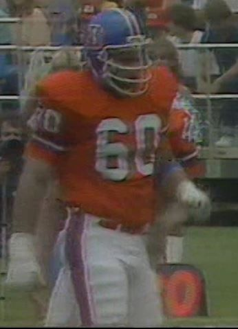 Iron man right guard PAUL HOWARD (60)--September 16, 1979. Paul played for Denver from 1973-86, a thirteen-year time span which saw a rise under coach John Ralston, first taste of glory under Red Miller and the rollercoaster under Dan Reeves.