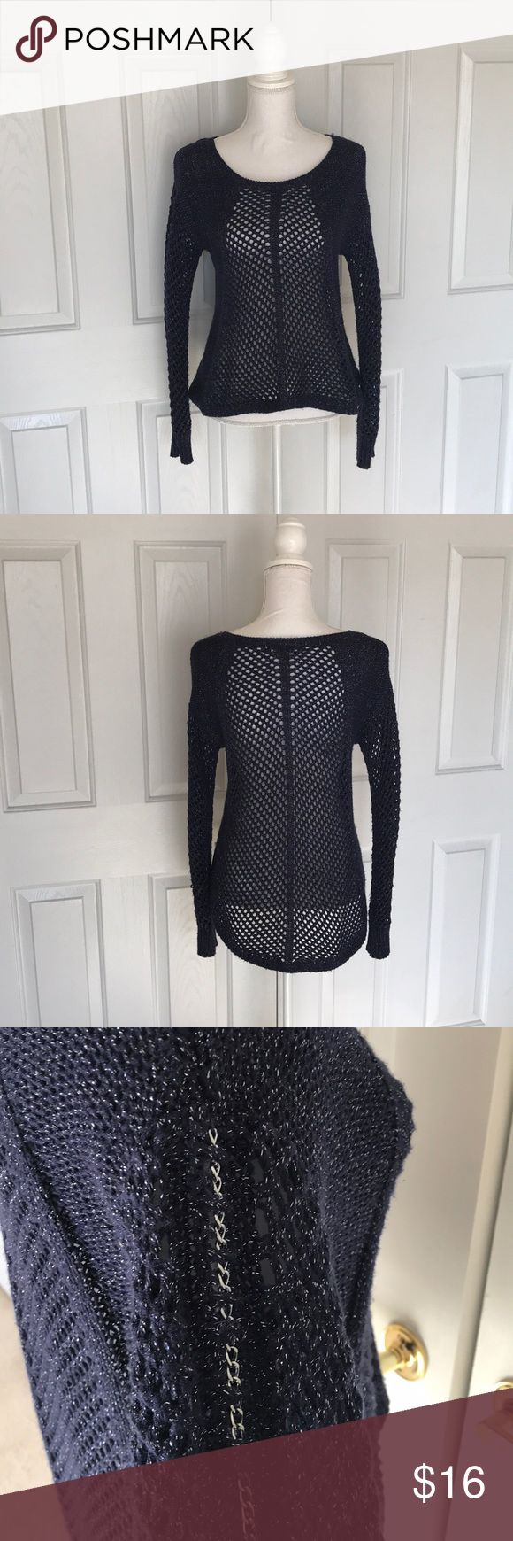 Eggplant Knit Sweater with Chain Detail Perfect condition. Hi-low effect Made of 80% acrylic, 13% polyester, and 7% metallic MEASUREMENTS:  Sleeve length: 24 inches Bust: 17 inches Length (in front/shorter side): 22 inches from shoulder Rock & Republic Sweaters