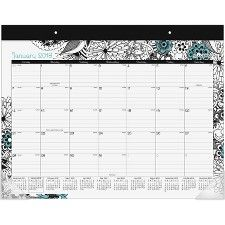 """At-A-Glance Medley Monthly Desk Pad  1 Year - January till December - 22"""" x 17 1/8"""" - Desk Pad, Wall Mountable - Assorted - Reference Calendar, Eyelet  AAGD1090704 