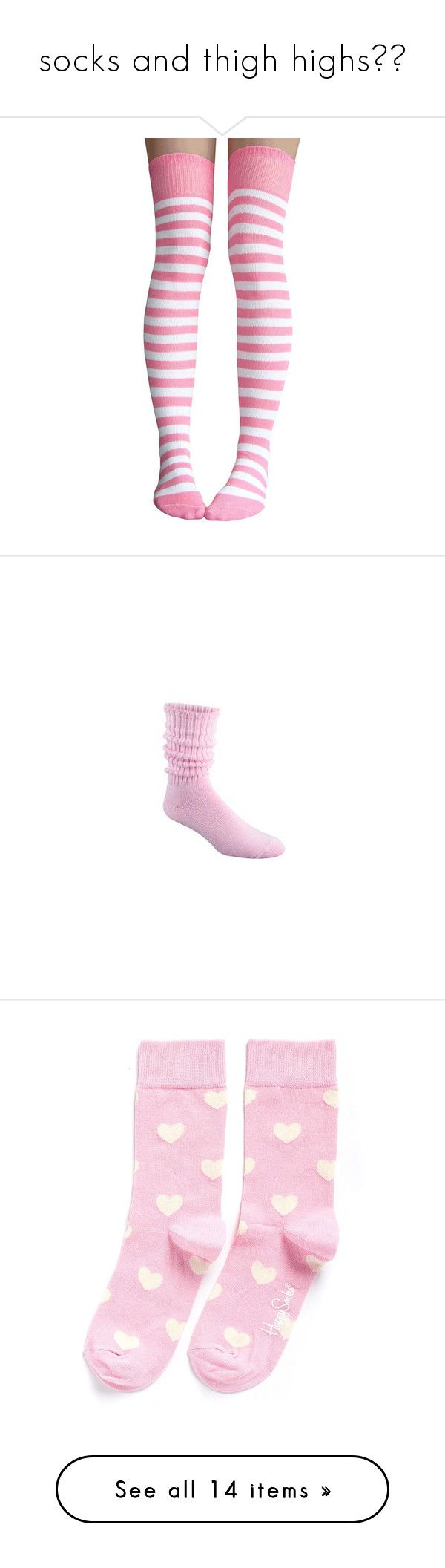 """""""socks and thigh highs💕💕"""" by ms-creepypastajr ❤ liked on Polyvore featuring intimates, hosiery, socks, striped thigh high socks, pink striped socks, pink socks, wide socks, stripe thigh high socks, slouch socks and 80s socks"""
