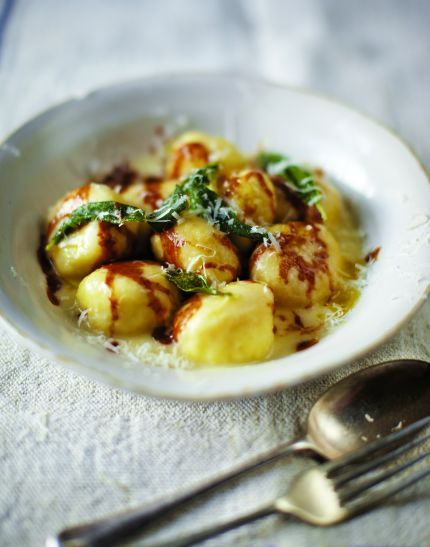 Gnudi ~ semolina, ricotta & parmesan balls from A Girl and Her Pig by April Bloomfield and JJ Goode