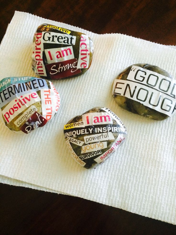 Affirmation stones - Positive self-affirmations and mindfulness activities - art therapy, self care