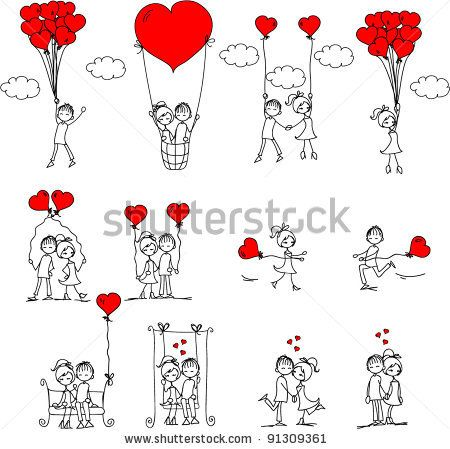Valentine doodle boy and girl, vector by Virinaflora, via ShutterStock