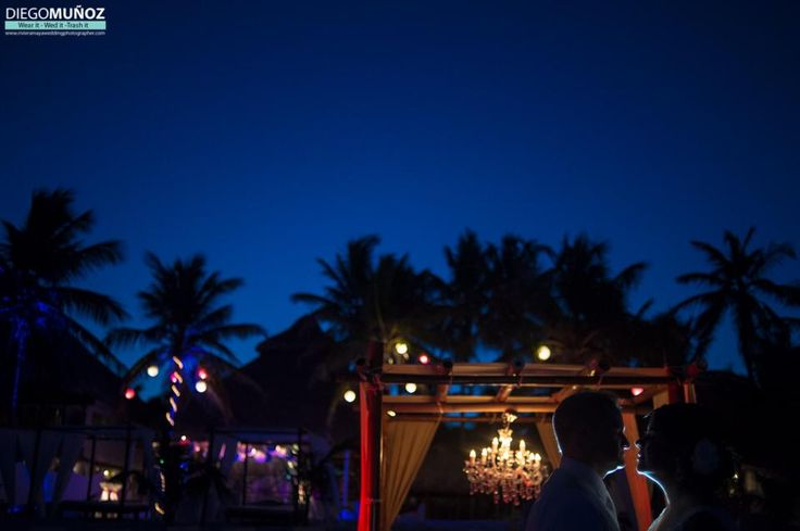 Wedding lighting in Akiin Beach Club in Tulum #tulumwedding