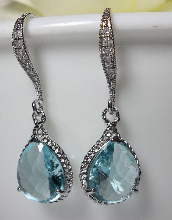 AQUAMARINE Earrings Sterling Silver  March by lookingforpandora, $27.99