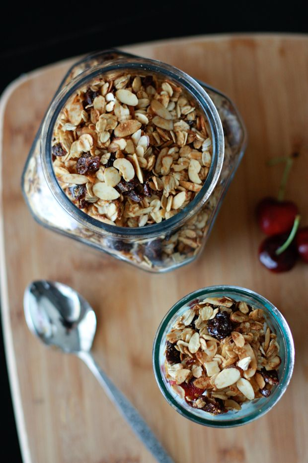 Cherry Almond Granola | Granola, Sliced almonds and Yogurt