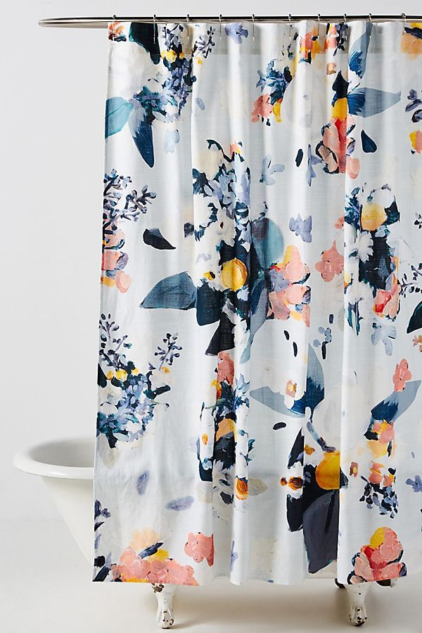 Botanica Shower Curtain In 2020 Blue Shower Curtains Cool