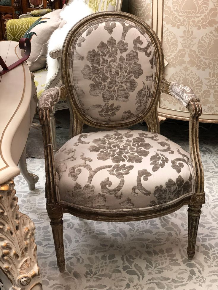 Pair of 18th Century Fauteuil Chairs In White Gray and Damask $1895 Pair  Set of Four - 13 Best Antique Chairs Images On Pinterest Antique Chairs, Antique